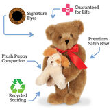 """15"""" Puppy Love Bear - 15"""" Standing Bear with a red satin bow and puppy, text says,""""Signature Eyes; Guaranteed for Life; Premium Satin Bow; Recycled Stuffing; Plush Puppy Companion."""" image number 1"""