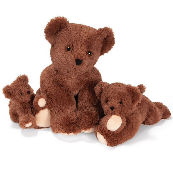 "15"" Belly Bear - Set of 3 German Chocolate Bears snuggling together - 10"" on left, 24"" in middle and 15"" on right image number 2"