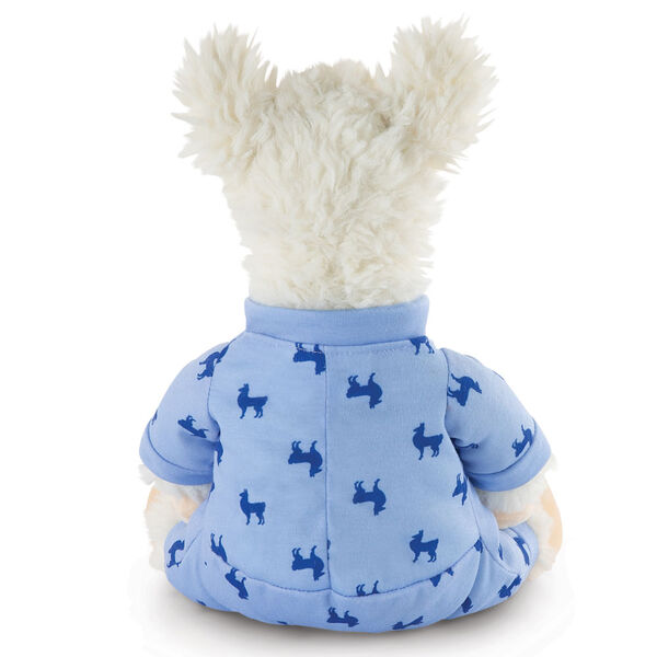 "13"" PJ Pal Llama - Back view of seated white Llama in blue cotton onesie pajamas with llama print  image number 6"