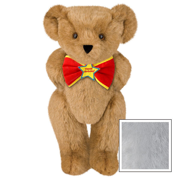"15"" ""Happy Birthday"" Bow Tie Bear - Standing jointed bear dressed in red bow tie with yellow trim; ""Happy Birthday"" is embroidered on Star center - Gray image number 4"