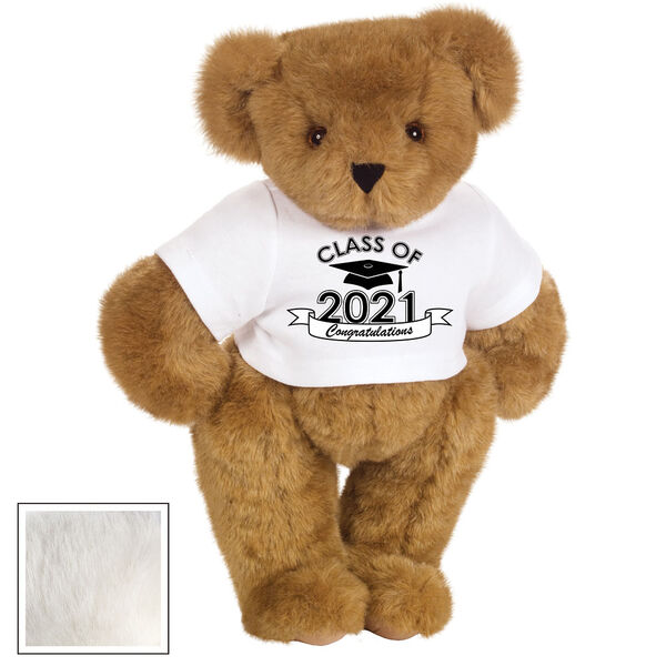 "15"" Graduation T-Shirt Bear - Standing jointed bear dressed in a white t-shirt with Class of 2021 on the front, personalized with ""Congratulations"" - Vanilla image number 1"