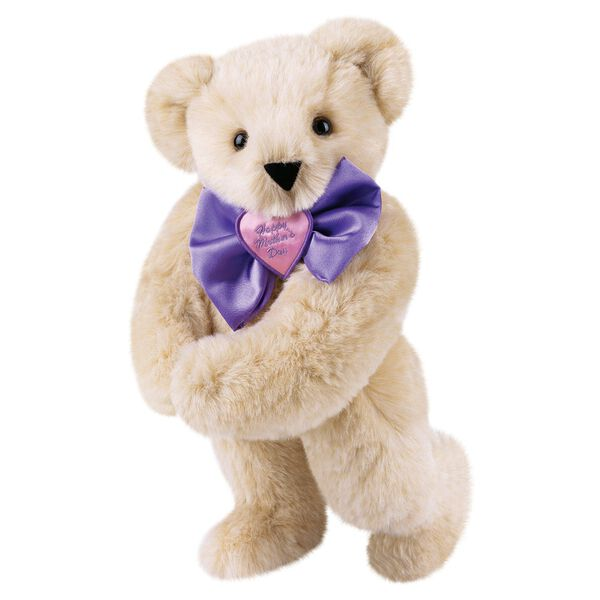 """15"""" Happy Mother's Day Bow Tie Bear - Standing jointed bear dressed in purple satin tie; """"Happy Mother's Day"""" is embroidered on pink satin heart center - Buttercream brown fur image number 0"""