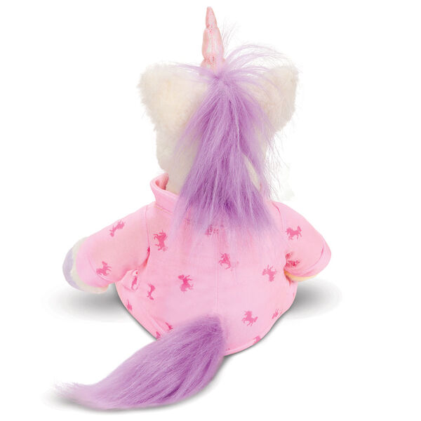 """13"""" PJ Pal Unicorn - Back view of cream unicorn with lavender hooves, horn, main and tail. Wearing pink unicorn print pajamas image number 4"""