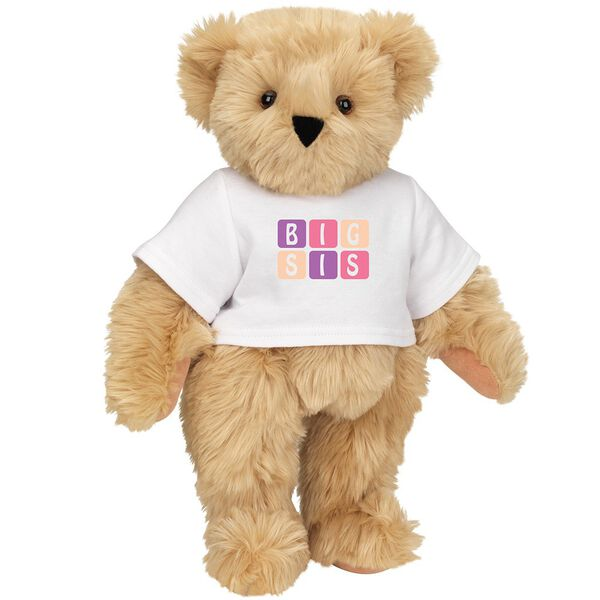 "15"" BIG SIS T-Shirt Bear - Standing jointed bear dressed in white t-shirt with pink and purple graphic that says, ""BIG SIS' - Maple brown fur image number 5"