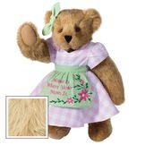 """15"""" Home Is Where Your Mom Is Bear - Front view of standing jointed bear wearing a pink gingham dress, green bow and apron with floral embroidery and says """"Home is Where Your Mom Is"""" - Maple brown fur image number 6"""
