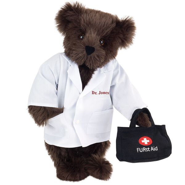 "15"" Doctor Bear - Front view of standing jointed bear dressed in white labcoat holding a doctor bag that is embroidered wth ""FURst Aid"" and a medical cross in red and white personalized with ""Dr. Jones"" on left chest in red - Espresso brown fur image number 4"