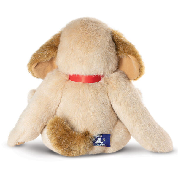 """15"""" Classic Puppy Dog - Back view of seated jointed tan puppy dog with honey brown spots, ears and taildressed in a red satin bow - Buttercream brown fur image number 1"""
