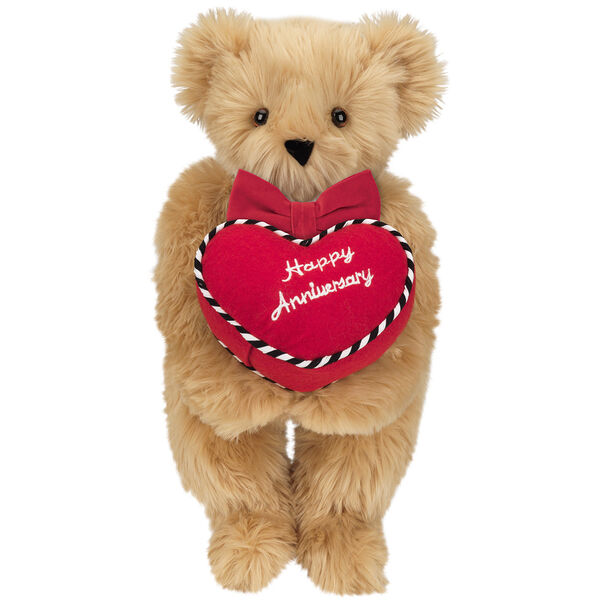 """15"""" Happy Anniversary Bear - Front view of standing jointed bear dressed in a red velvet bow tie and holding a red heart pillow that says' Happy Anniversary"""" in white  - Maple brown fur image number 4"""