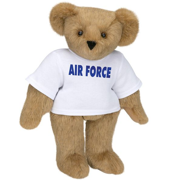 "15"" Air Force T-Shirt Bear - Standing jointed bear dressed in a white t-shirt says, ""AIR FORCE"" in royal blue lettering on the front of the shirt - Honey brown fur image number 0"
