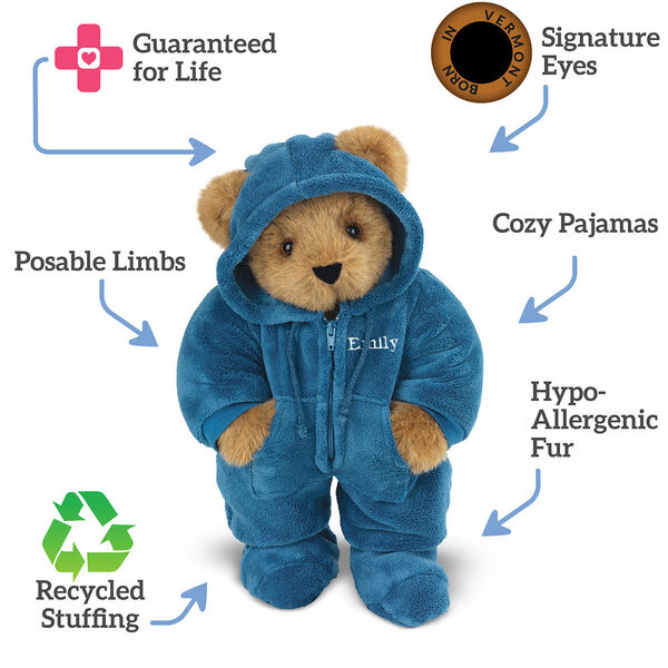 "15"" Hoodie-Footie Bear Blue - standing jointed bear dressed in blue hoodie footie text around bear reads, ""Signature Eyes; Poseable Limbs; Recycled Stuffing; Hypo-Allergenic Fur; Cozy Pajama; Guaranteed For Life"".  image number 8"