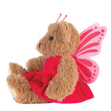 "13"" Super Soft Butterfly Bear - Side view of seated Almond Brown Bear in pink butterfly dress with wings and antenna headpiece image number 2"