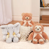 "13"" Cuddle Cub Bear with Bow - Bear, Elephant and Sloth sitting on the floor in a bedroom scene image number 5"