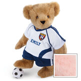 """15"""" Soccer Bear - Three quarter view of standing jointed bear dressed in a blue and white jersey with VTB logo, blue shorts and comes with black and white soccer ball. Shirt is personalized with """"Emily"""" on the front - Pink image number 5"""