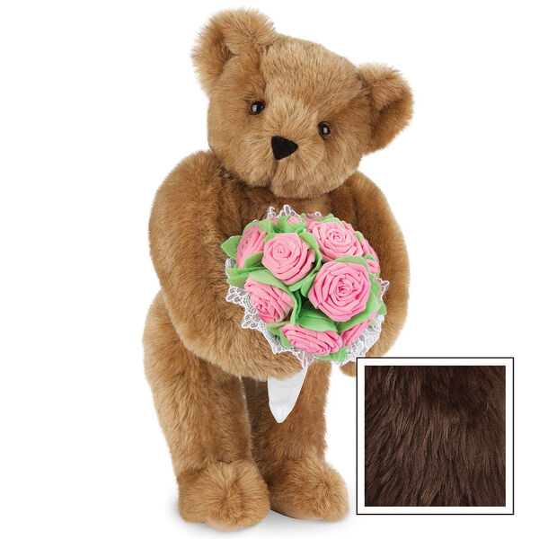 """15"""" Pink Rose Bouquet Teddy Bear - Front view of standing jointed bear holding a large pink bouquet wrapped in white satin and lace - Espresso image number 8"""