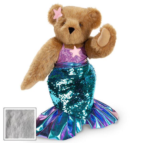 """15"""" Mermaid Bear - Three quarter view of standing jointed bear dressed in a blue sequin tail and purple top with shell embroidery an pink starfish applique and earpiece - gray fur image number 6"""
