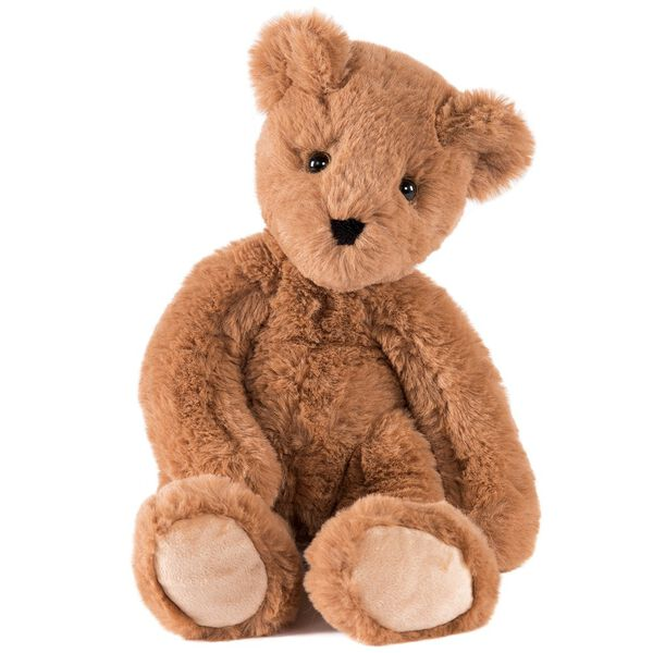 """15"""" Buddy Bear - Front view - Slim seated honey brown bear with tan paw pads and brown eyes image number 1"""