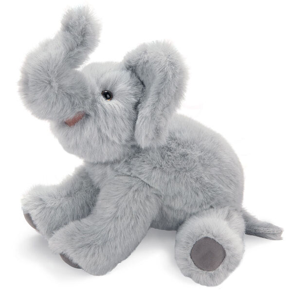 """15"""" Classic Elephant - Seated side view of gray plush elephant with upturned trunk and pink mouth.  image number 7"""