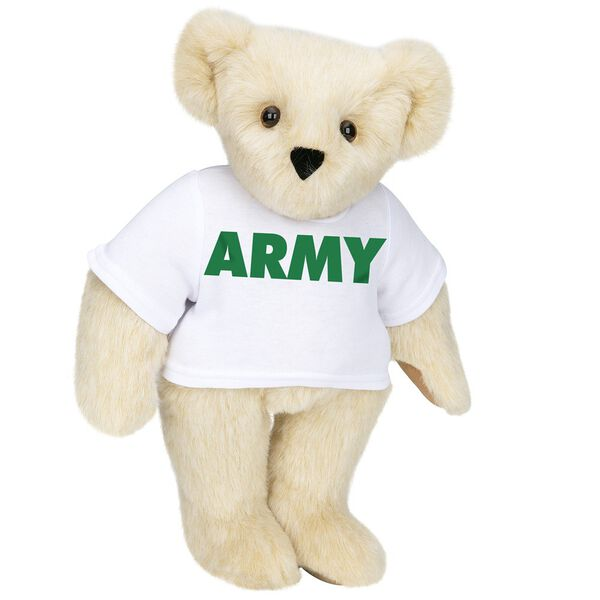 "15"" Army T-Shirt Bear - Standing jointed bear dressed in a white t-shirt says, ""ARMY"" in green lettering on the front of the shirt - Buttercream brown fur image number 1"