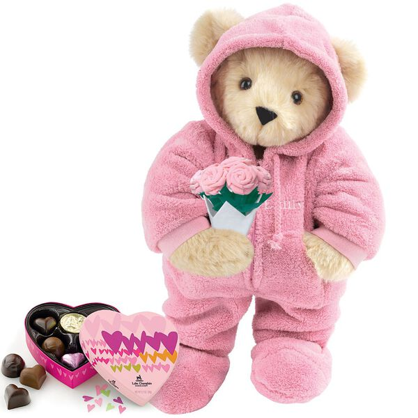 """15"""" Hoodie Footie with Roses and Chocolates - Front view of standing jointed bear dressed in pink hoodie footie, holding pink bouquet of roses and 6 pc. Heart box of chocolates. Left chest personalized with """"Emily"""" in white - Buttercream brown for image number 1"""