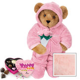 """15"""" Hoodie Footie with Roses and Chocolates - Front view of standing jointed bear dressed in pink hoodie footie, holding pink bouquet of roses and 6 pc. Heart box of chocolates. Left chest personalized with """"Emily"""" in white - Pink image number 5"""