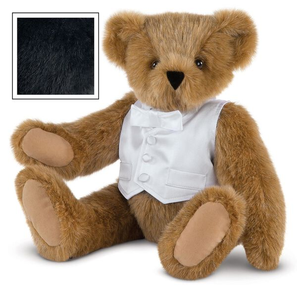 "15"" Special Occasion Boy Bear - Three quarter view of seated jointed bear dressed in a white satin vest and shirt front with bowtie - Black fur image number 3"