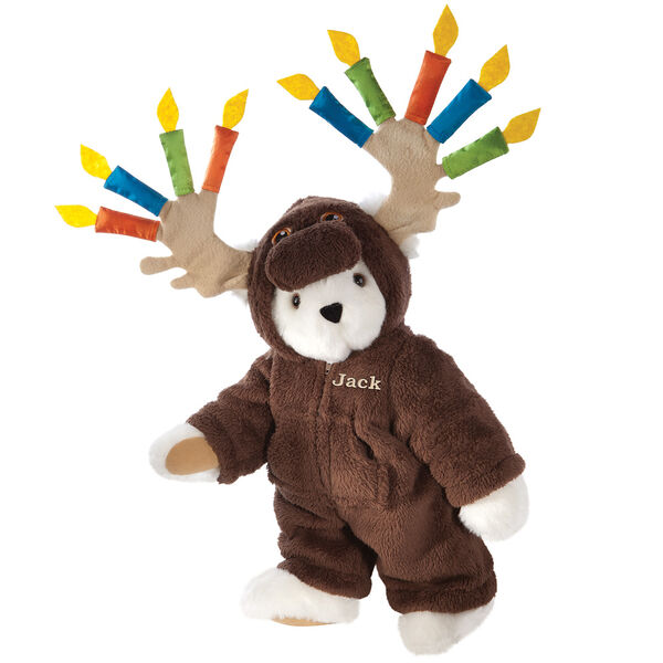 "15"" Moose Be Your Birthday! Bear - Front view of standing jointed bear dressed in a brown hoodie footie with birthday candles on the tan antlers personalized with ""Jack"" on left chest in gold lettering - Vanilla white fur image number 2"