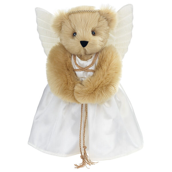 "15"" Angel Bear - Standing jointed bear in a ivory satin dress with satin angel wings and gold metallic halo - Maple brown fur image number 6"