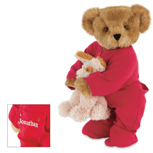 """15"""" Christmas Bedtime Bear with Puppy - Standing jointed bear dressed in white red dropseat onesie with 6"""" tan puppy. Inset image shows """"Jonathan"""" personalized on rear flap of PJ in white - Honey brown fur image number 0"""