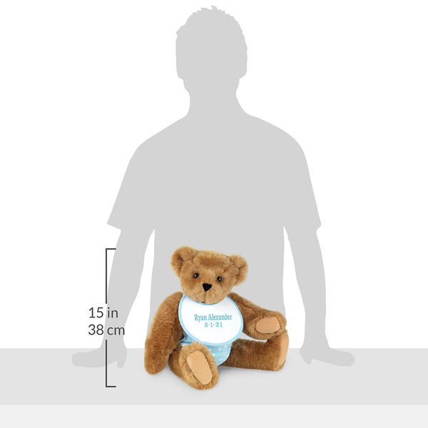 """15"""" Baby Boy Bear - Seated jointed bear dressed in blue with white dots fabric diaper and bib in the shadow of a human with a measurement of 15 in / 38 cm to the left of the bear.  image number 10"""