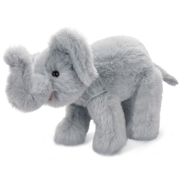 """15"""" Classic Elephant - Side view of standing gray plush elephant with upturned trunk, tail and pink mouth.  image number 2"""