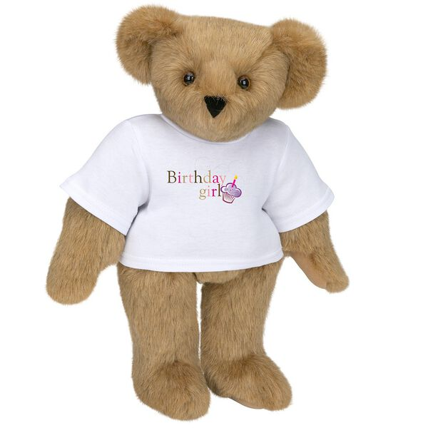 """15"""" Birthday Girl T-Shirt Bear - Standing jointed bear dressed in white t-shirt with colorful graphic that says, """"Birthday Girl' with purple cupcake and one candle - Honey brown fur image number 0"""