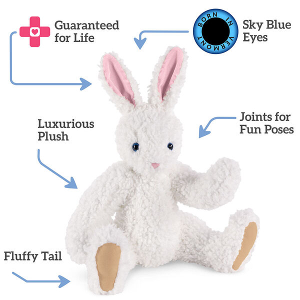 "16"" Classic Curly White Bunny  - Front view of seated jointed rabbit with blue eyes, pink nose and ears and beige foot padstext reads, ""Sky Blue Eyes; Joints for Fun Poses; Fluffy Tail; Luxurious Fur; Guaranteed For Life"".  image number 1"