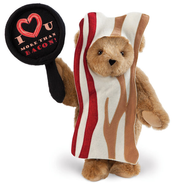 """15"""" I Love You More than Bacon - Front view of standing jointed bear dressed in tan bacon costume holding a pan that says""""I """"heart"""" U more than bacon!"""" - Honey brown fur image number 0"""