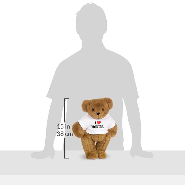 "15"" ""I HEART You"" Personalized T-Shirt Bear - Honey Bear in white t-shirt personalized with I ""Heart"" Monica in the shadow of a human with a measurement of 15 in or 38 cm to the left of the bear.  image number 5"
