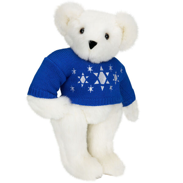 "15"" Chanukah Sweater Bear - Standing jointed bear dressed in blue knit sweater with white Star of Davids embroidered on the front - Vanilla white fur image number 2"