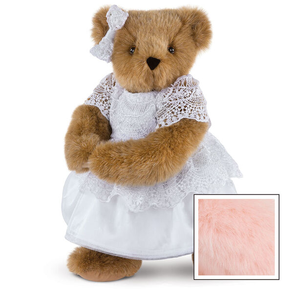 """15"""" Special Occasion Girl Bear - Three quarter view of standing jointed bear dressed in a white satin dress and hair bow with white lace trim - Pink image number 5"""