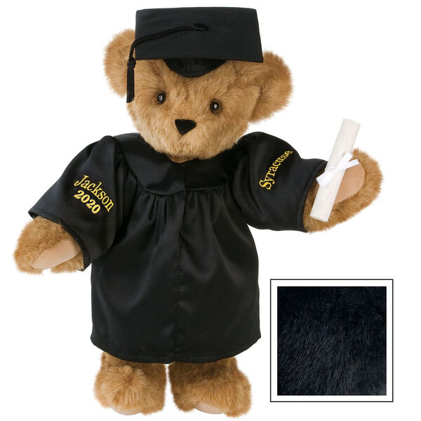"""15"""" Graduation Bear in Black Gown - Front view of standing jointed bear dressed in black satin graduation gown and cap and holding a rolled up diplomapersonalized """"Jackson 2020"""" on right sleeve and """"Syracuse"""" on left in gold - Black fur image number 3"""