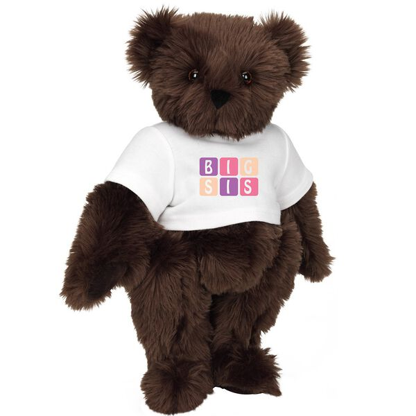 "15"" BIG SIS T-Shirt Bear - Standing jointed bear dressed in white t-shirt with pink and purple graphic that says, ""BIG SIS' - Espresso brown fur image number 6"