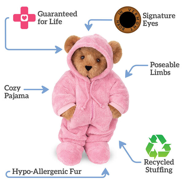 """15"""" Hoodie Footie Bear - standing jointed bear dressed in pink hoodie footie text around bear reads, """"Signature Eyes; Poseable Limbs; Recycled Stuffing; Hypo-Allergenic Fur; Cozy Pajama; Guaranteed For Life"""".  image number 1"""