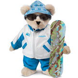 "15"" Snowboarder Bear - Front view of standing jointed bear dressed in a blue and white snow jacket, blue pants, sunglasses and holding a snowboard with graphics. Jacket is personalized with ""Jason"" on the left chest - Buttercream brown fur image number 1"
