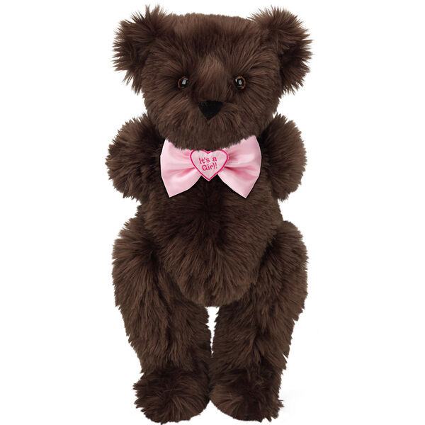"15"" ""It's a Girl!"" Bow Tie Bear - Standing jointed bear dressed in light pink satin bow tie with ""It's a Girl!"" is embroidered on heart center - long Espresso brown fur image number 6"
