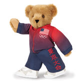 """15"""" Team USA Olympic Bear - Front View of red and blue track suit with Tokyo Tournament Japanese characters on left pant leg and American flag and Olympic rings on the left chest of the jacket image number 1"""