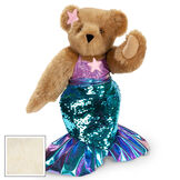 """15"""" Mermaid Bear - Three quarter view of standing jointed bear dressed in a blue sequin tail and purple top with shell embroidery an pink starfish applique and earpiece - buttercream brown fur image number 3"""