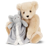 "15"" Cuddle Buddies Gift Set with Elephant Blanket - 15"" jointed seated bear with gray elephant blanket - Buttercream image number 0"