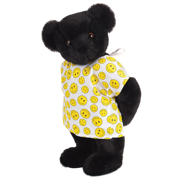 "15"" Get Well Bear - Three quarter view of standing jointed bear dressed in a white johnny with yellow happy faces - Black fur image number 3"