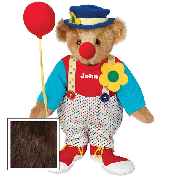 "15"" Clown Bear - Standing jointed bear dressed in dot pants with suspenders and daisy, red and blue shirt, blue hat, red clown shoes, and holds  red fabric balloon made personalized with ""John"" in white on shirt's center front - Espresso brown fur image number 7"