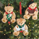 12 Days of Christmas Ornament Set - 3 Bears hanging in a Christmas tree each holding a different bird: Partridge in a Pear Tree, 2 Turtle Doves, and a French Hen.  image number 2