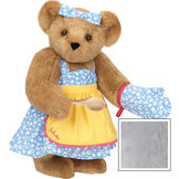 """15"""" Cooking Bear - Three quarter view of standing jointed bear dressed in a blue floral sundress and oven mitt, yellow apron with pink trim and holding a wooden spoon. Apron is personalized with """"Julietta"""" in hot pink - Gray image number 4"""