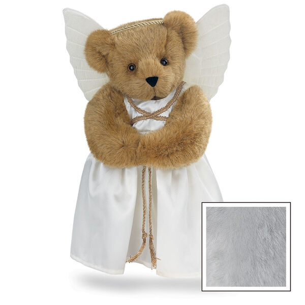 "15"" Angel Bear - Standing jointed bear in a ivory satin dress with satin angel wings and gold metallic halo - Gray image number 4"