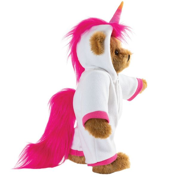 "15"" Unicorn Hoodie Bear - Side view of standing jointed bear dressed in a white fleece hoodie footie with rainbow horn, a hot pink cuffs and fur mane and tail image number 8"